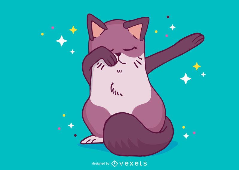 Cat dabbing cartoon
