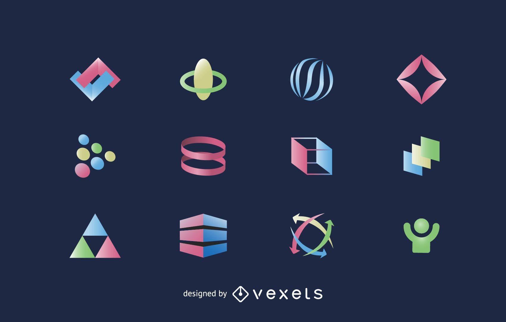 Pacote de elementos de logotipo em cores brilhantes