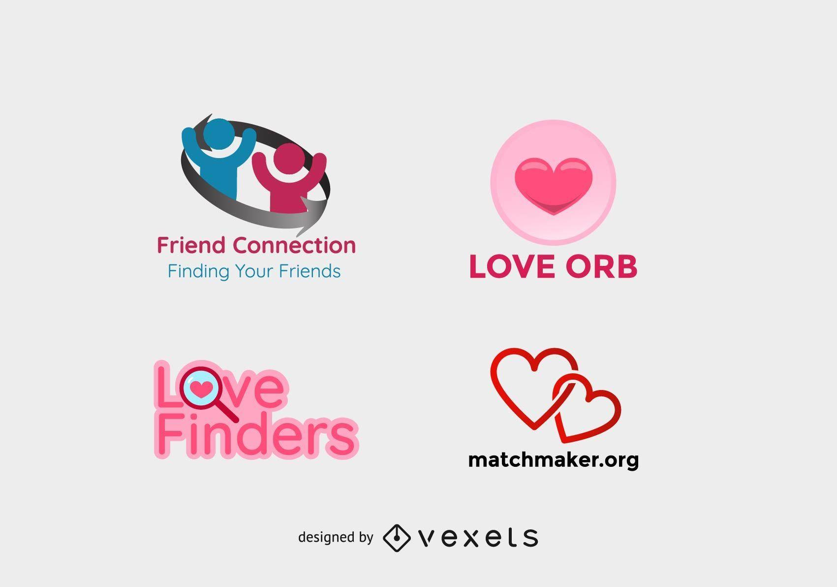 Logotipos de namoro e amigos
