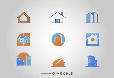 Conjunto de logotipo de edifícios