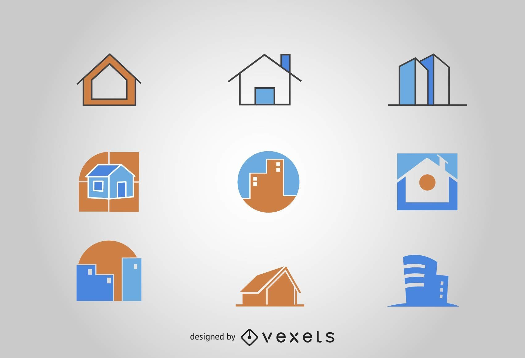 Buildings logo set
