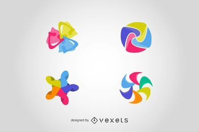 Legen Sie Logo-Elemente in abstrakten Formen