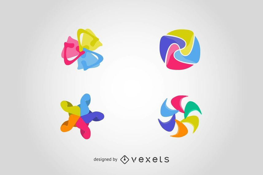 Set logo elements in abstract shapes