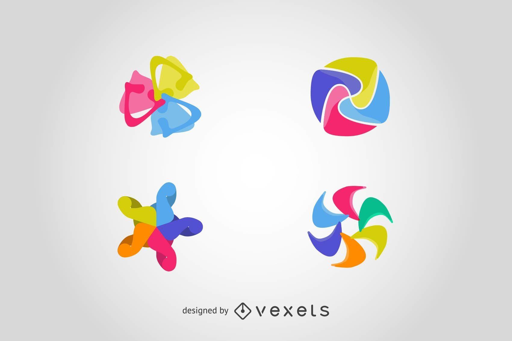 Definir os elementos do logotipo em formas abstratas
