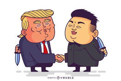 Desenhos animados engraçados do trunfo e do Kim Jong Un