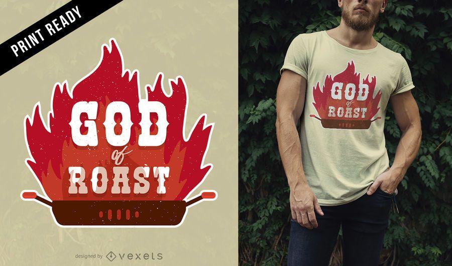 Deus do design do t-shirt do assado