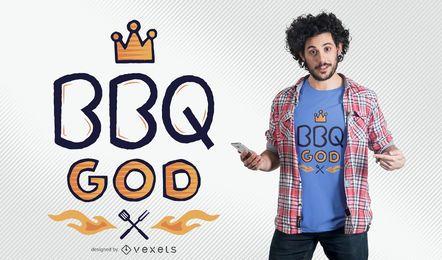 Diseño de camiseta de dios de la barbacoa