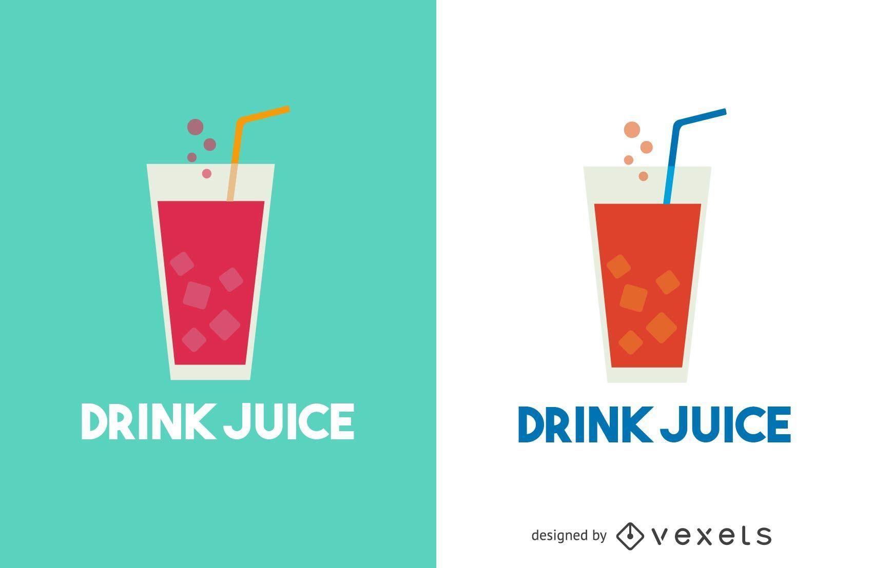 Trinken Sie Saft Logo Vorlage