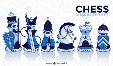 Conjunto ilustrado de personajes de ajedrez.