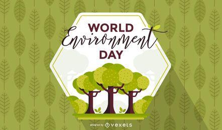 Fundo de hexágono de dia de ambiente mundial