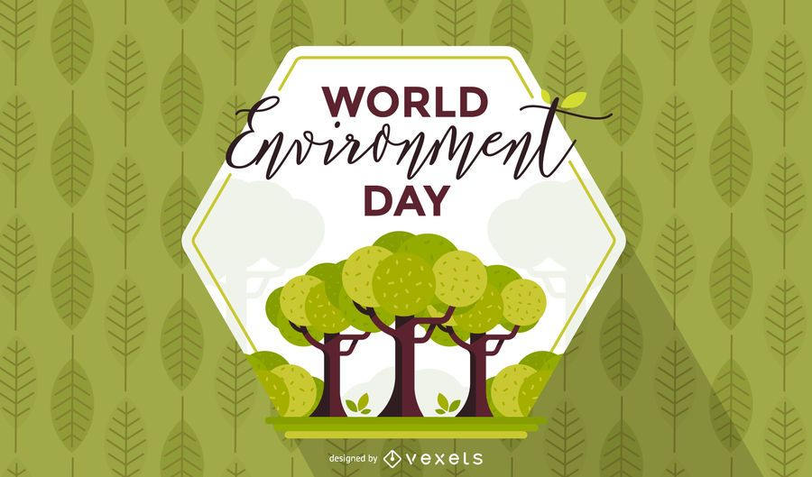 World environment day hexagon background