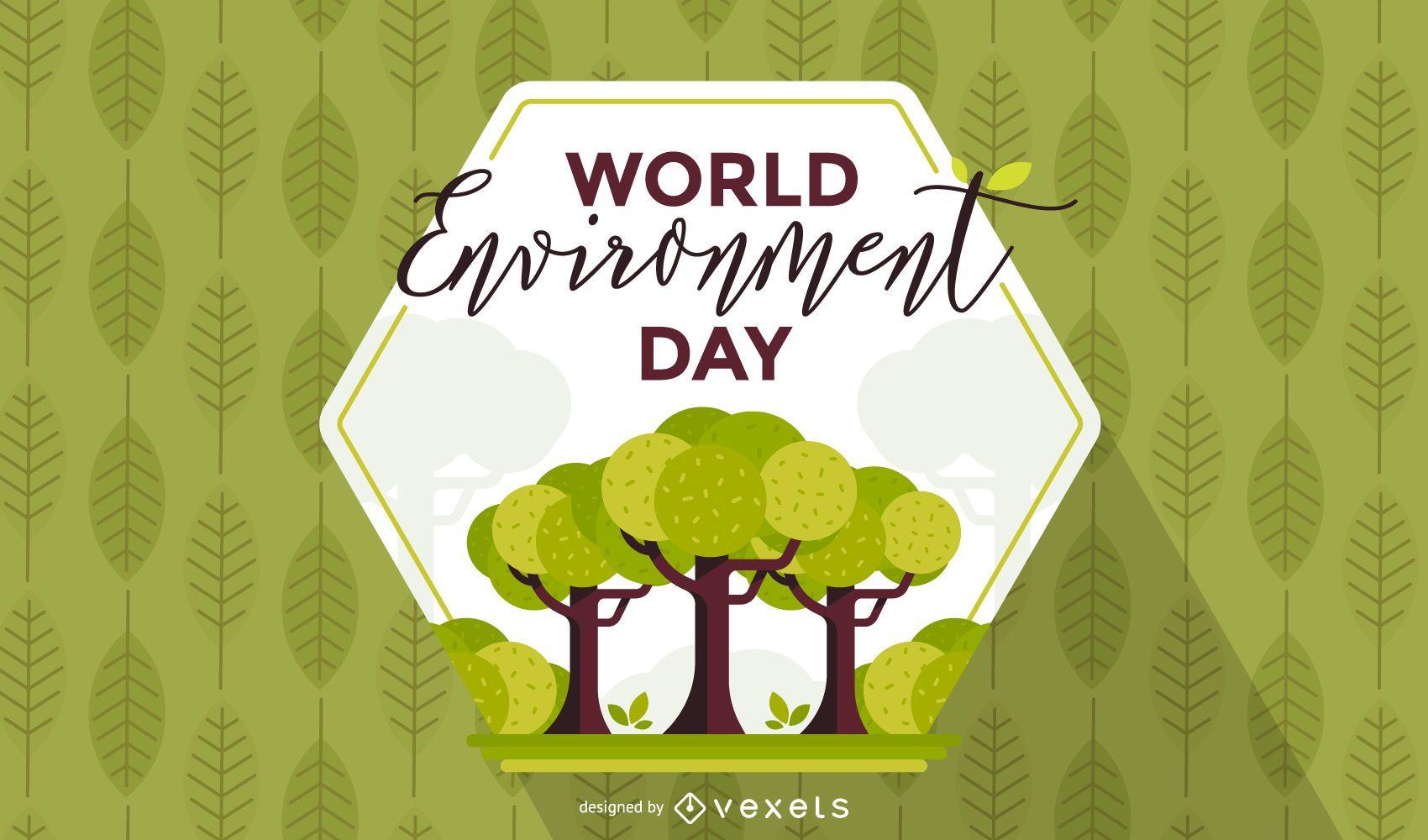 World environment day hexagon background