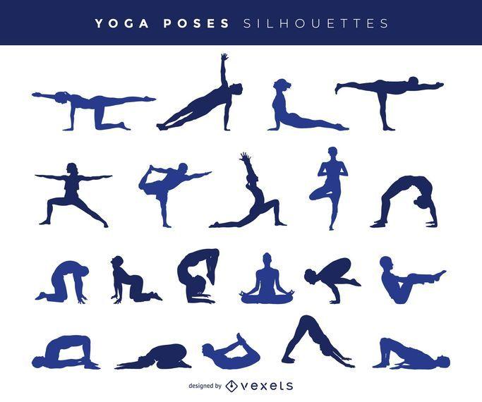 Siluetas de poses de yoga