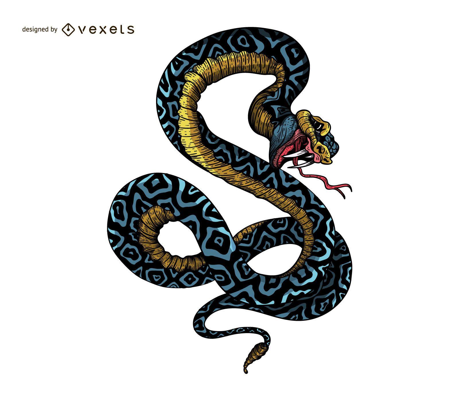 Ilustración de tatuaje de serpiente