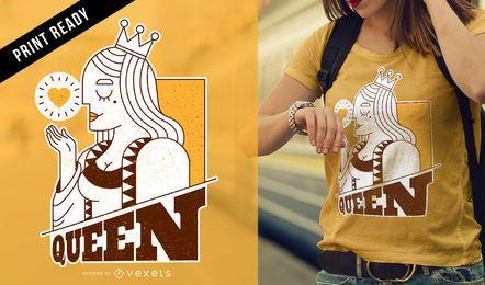 Diseño de camiseta de la tarjeta reina