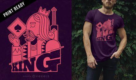 Design de t-shirt de cartão de rei