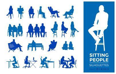 Menschen sitzen Silhouetten