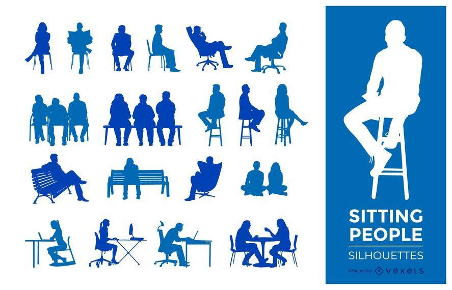 Pessoas, sentando, silhuetas