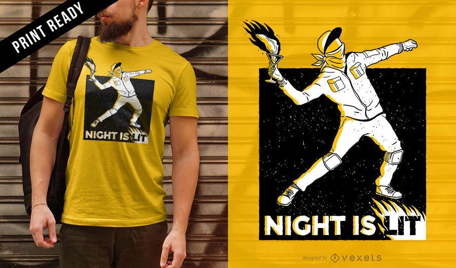 La noche está encendida diseño de camiseta