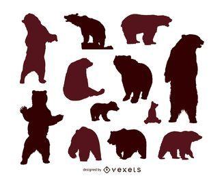 Conjunto de silueta de oso