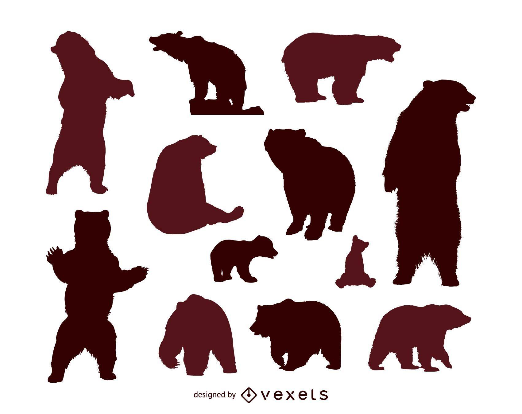Bear silhouette set