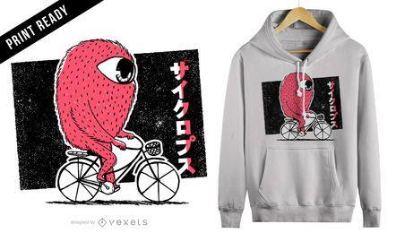 Cyclops montando design de t-shirt de bicicleta