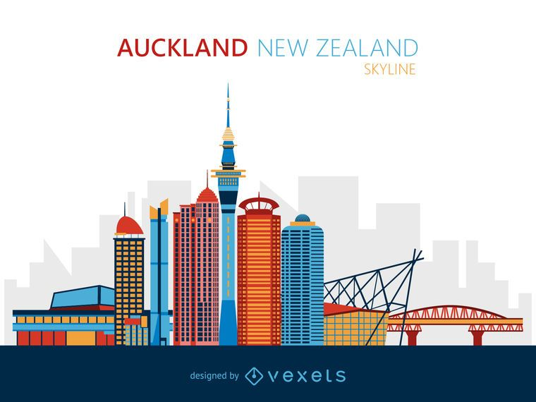 Auckland skyline illustration