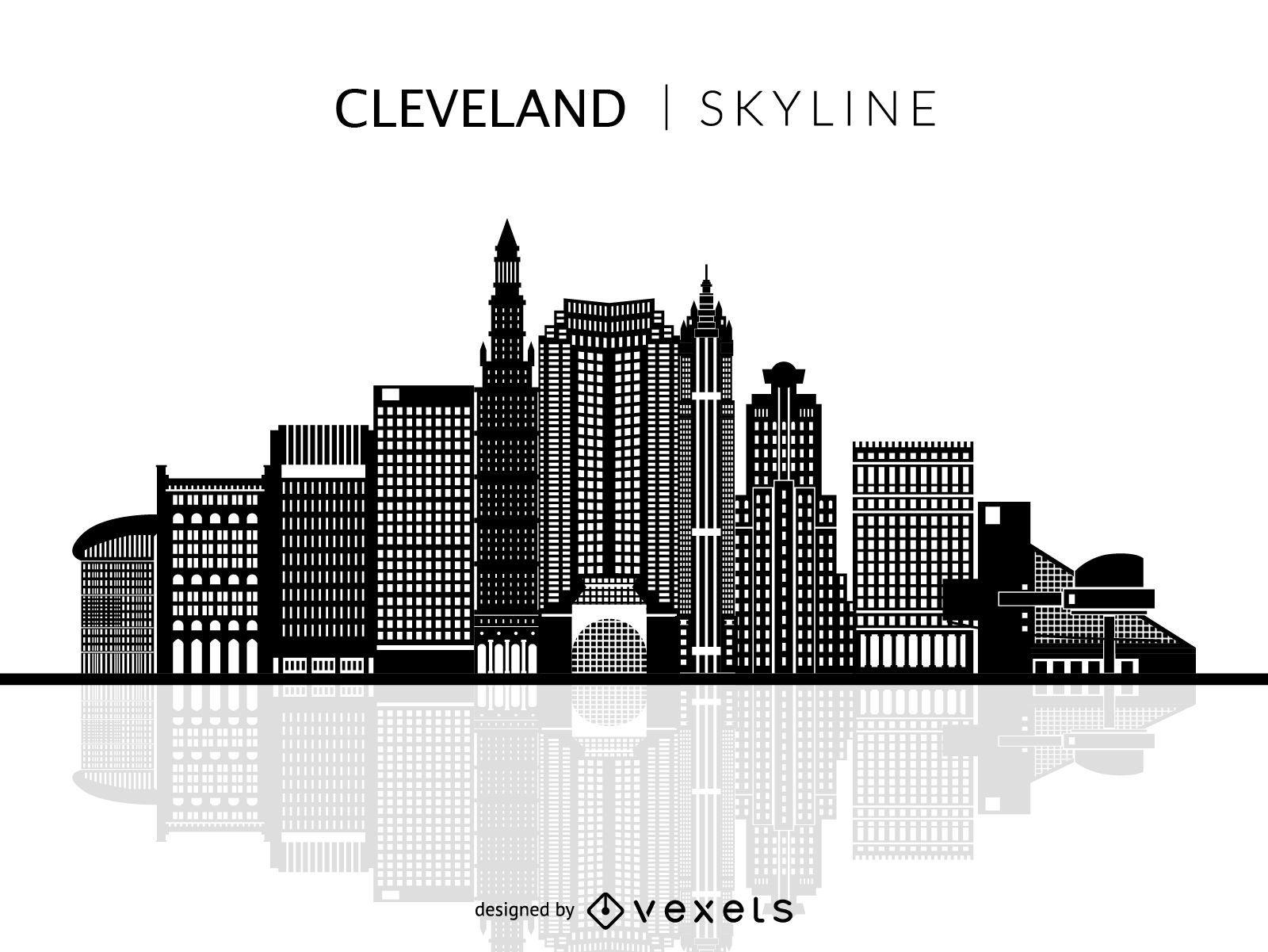 Cleveland skyline isolated