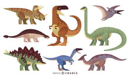 Conjunto de ilustración de dinosaurio