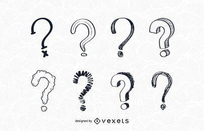 Conjunto de desenho de ponto de interrogação
