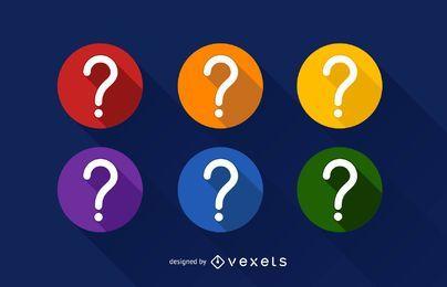 Conjunto de ícones de ponto de interrogação
