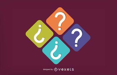 Conjunto de iconos cuadrados de interrogación