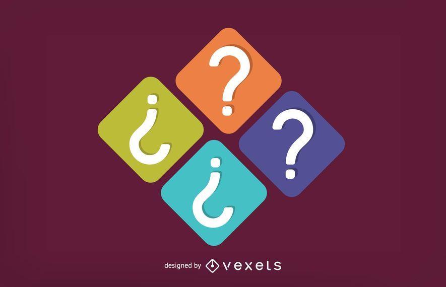 Conjunto de ícones quadrados de ponto de interrogação