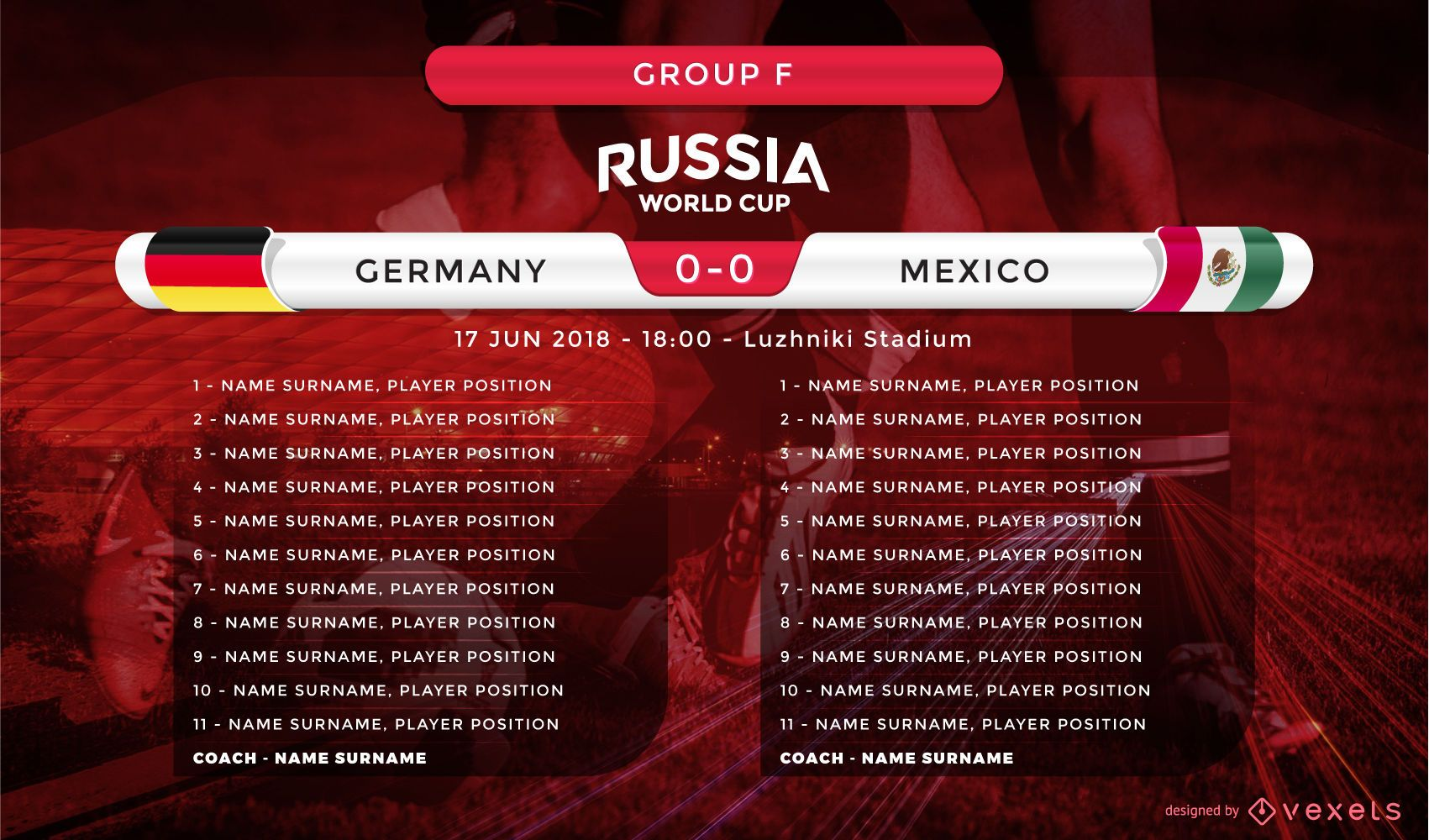World cup lineup screen