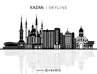 Silueta de Kazan horizonte