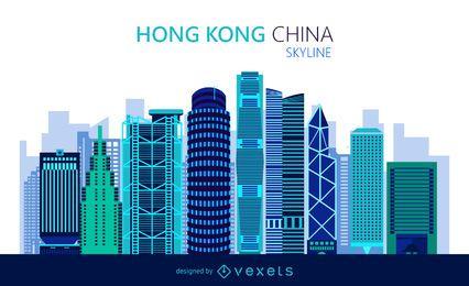 Flache Skyline von Hongkong