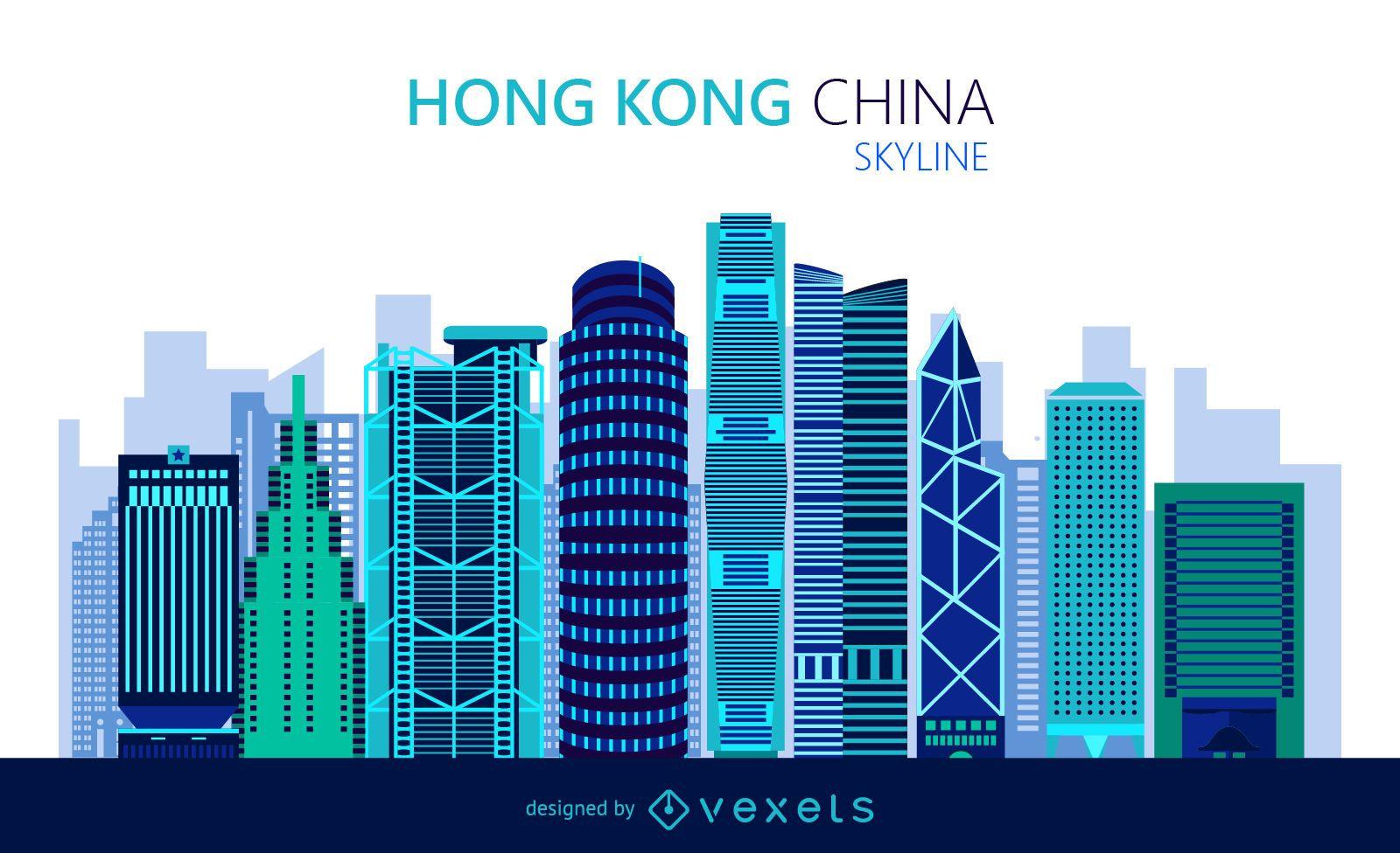 Flat Hong Kong skyline