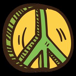 3d símbolo de paz coloreado doodle