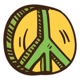 Doodle colorido símbolo de paz 3D