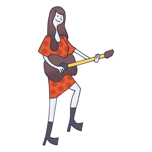 Acoustic guitar player cartoon Transparent PNG