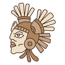 Máscara de cabeza azteca de dibujos animados