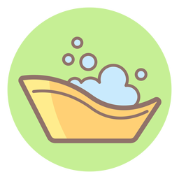 Baby bath tub circle icon
