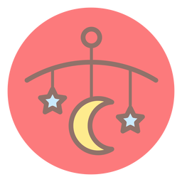 Bebê, cama, sino, círculo, ícone