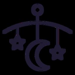 Icono de trazo de campana de cama de bebé