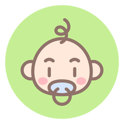 Baby boy head circle icon