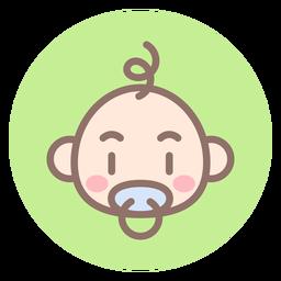 Icono de círculo de cabeza de bebé niño