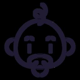 Ícone de traçado de cabeça de bebê menino