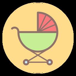 Icono de círculo de carro de bebé
