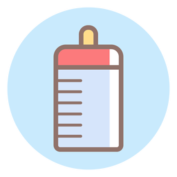 Icono de círculo de botella de alimentación de bebé