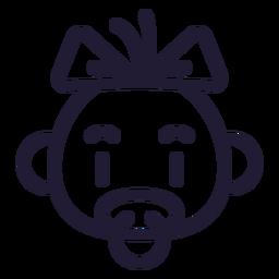 Ícone de traçado de cabeça de bebê menina